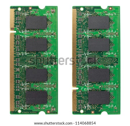 Both sides of a memory chip isolated on white with clipping path - stock photo