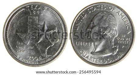 Both sides of an 2004 US quarter featuring the state of Texas, isolated on a white background.  - stock photo
