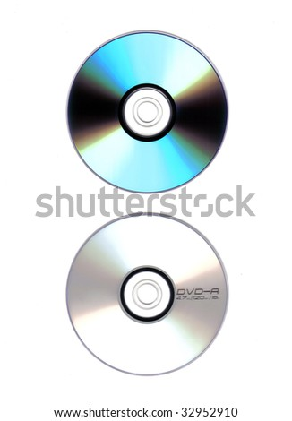 both sides of dvd isolated on white background - stock photo