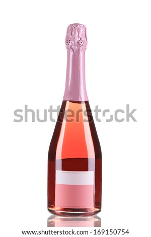 Botlle of pink fruit champagne. Isolated on a white background. - stock photo
