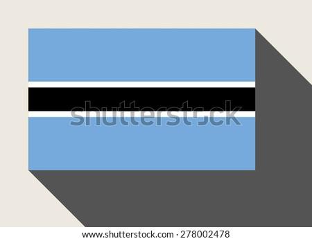 Botswana flag in flat web design style. - stock photo