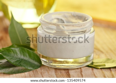 botte of organic cream - stock photo