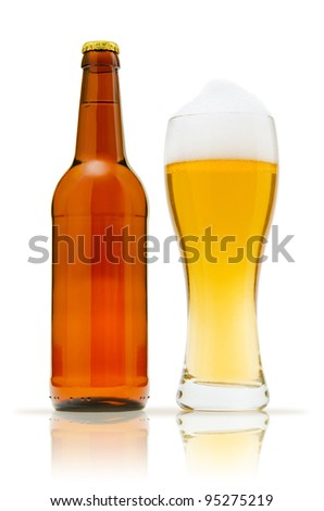 Bottle and a glass of beer - stock photo
