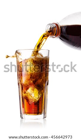 Bottle and a glass of cola isolated on white background