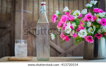 Bottle and a glass of water - stock photo