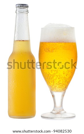 bottle and glass of beer on white background