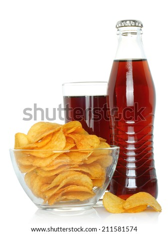 Bottle and glass of cola with potato chips on white background   - stock photo