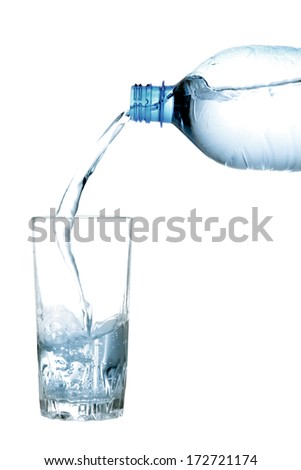 Bottle and glass of pure drinking water