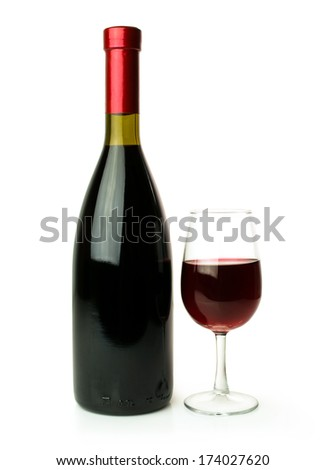 bottle and glass of red wine isolated on white - stock photo