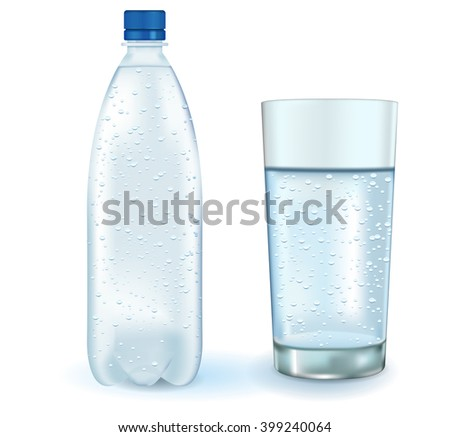 Bottle and glass of water.   illustration isolated on white background. Raster version. - stock photo