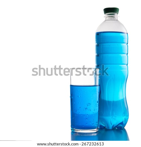 Bottle and glass of water isolated on white background