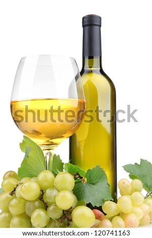 bottle and glass of wine and grapes, isolated on white