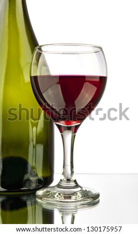 bottle and glass of wine on a white background