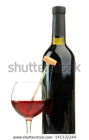 Bottle and glass of wine with thermometer, isolated on white