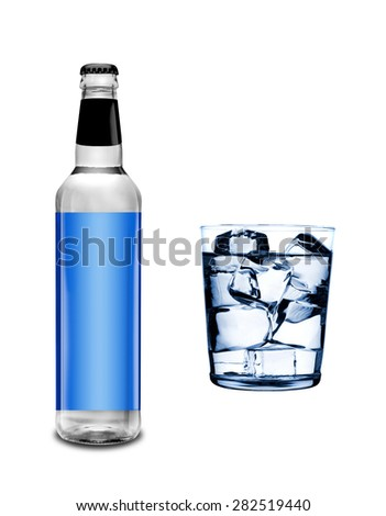 bottle and glass with ice cubes isolated on white - stock photo