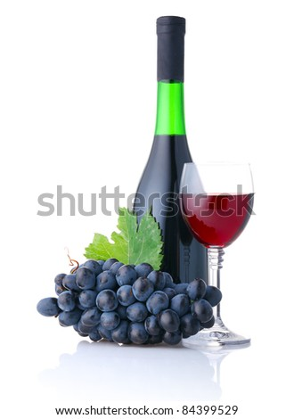 Bottle and goblet of red wine with branch of grapes isolated on white background - stock photo