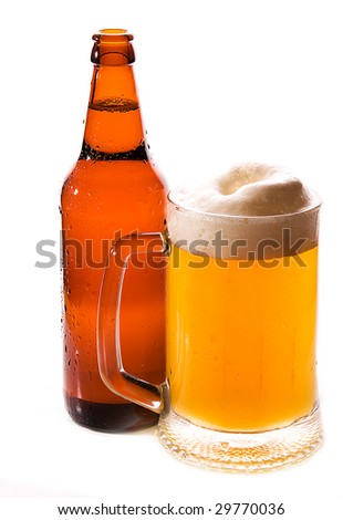 Bottle and mug of beer