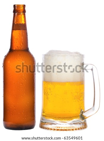 bottle and mug with beer on white background