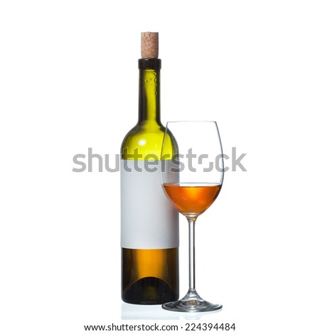 bottle and wine glass isolated on white background - stock photo