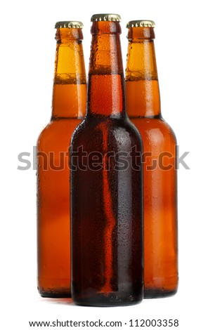 bottle beer isolated on white background - stock photo