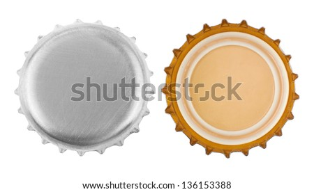 bottle cap isolated on white background - stock photo