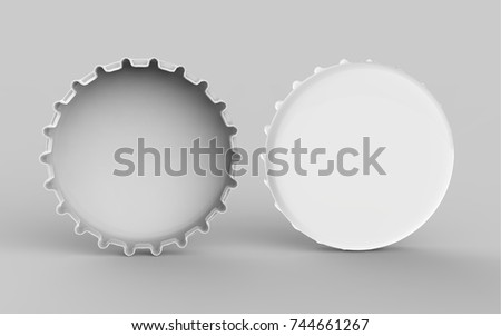 Bottle Cap Mock Up Template On Isolated White Background, 3D Illustration