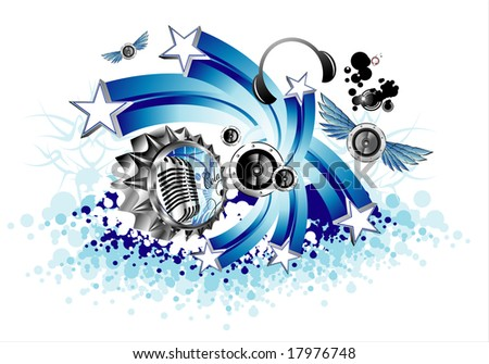 Bottle Cap, music and stars background - stock photo