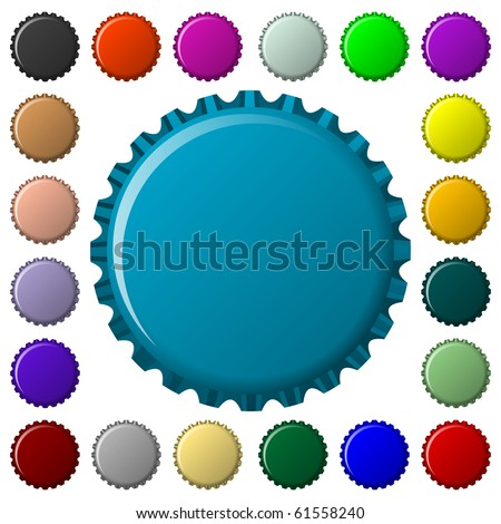 bottle caps in colors collection, abstract art illustration; for vector format please visit my gallery - stock photo