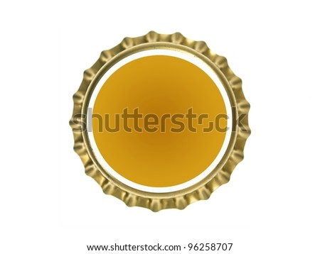 Bottle caps isolated against a white background