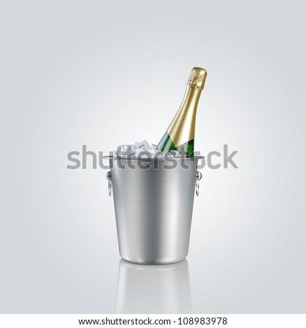 Bottle  champagne in a bucket with ice - stock photo