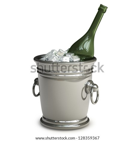 Bottle champagne in a bucket with ice isolated on white background High resolution 3d render