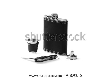 Bottle, cup and �knife - stock photo