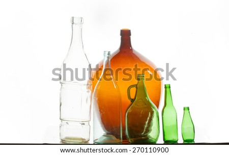 bottle, flask. a container, typically made of glass or plastic and with a narrow neck, used for storing drinks or other liquids. - stock photo