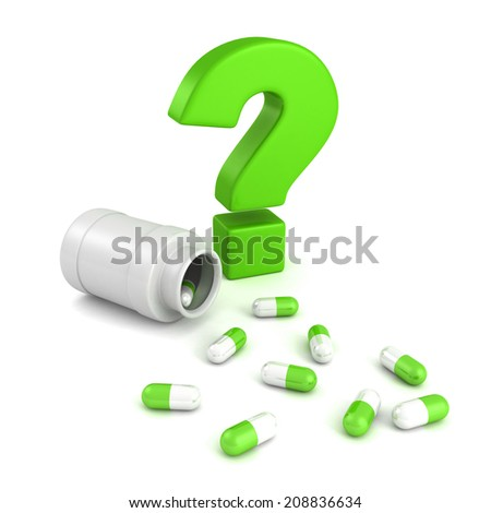bottle for medical pill tablets with green question mark. 3d render illustration - stock photo