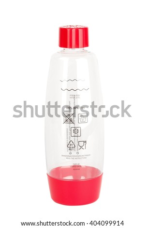 Bottle for Soda sifon on Seltzer bottle.  Side view. Isolated on white background. - stock photo