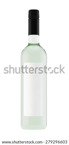 bottle for white wine from light glass with a screw stopper