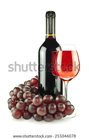 Bottle, glass of red wine and vine on an isolated white background