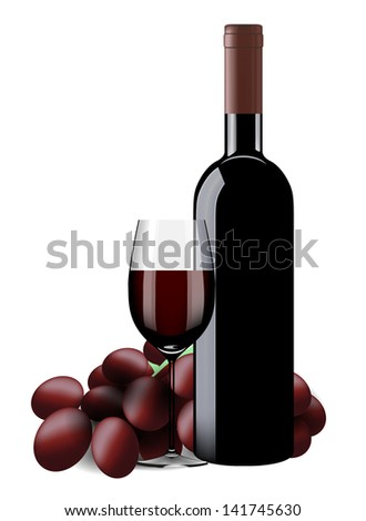 Bottle, glass of wine and grapes isolated