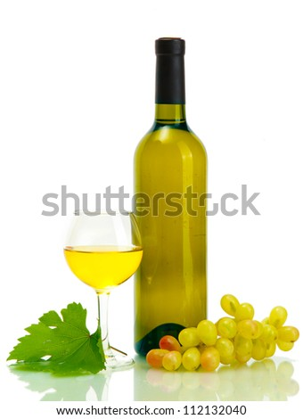 bottle, glass of wine and ripe grapes isolated on white