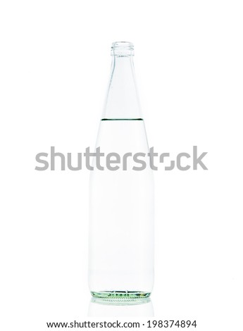 Bottle Glass water clear isolate on over white background - stock photo