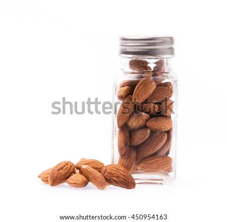 bottle of Almonds isolated on white background