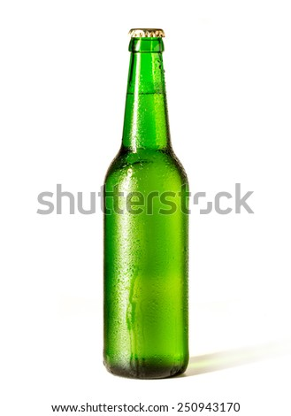 Bottle of beer isolated on a white background - stock photo