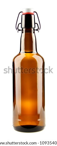 Bottle of beer isolated on white - stock photo