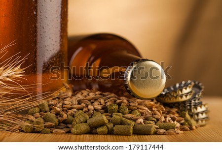 bottle of  beer on table  - stock photo