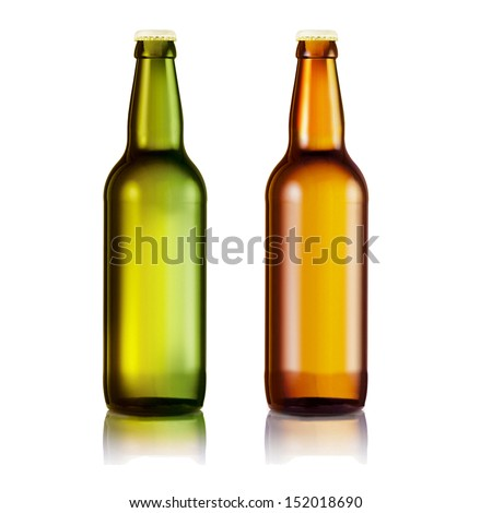 Bottle of beer on white background - stock photo