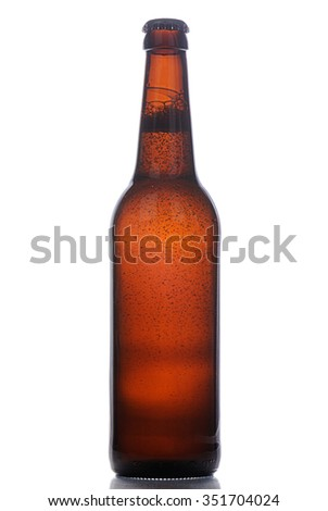 Bottle of beer with bubbles inside on white background