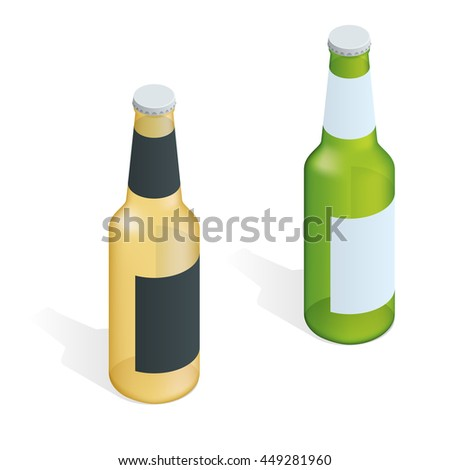 Bottle of beer with drops. Flat 3d isometric illustration.