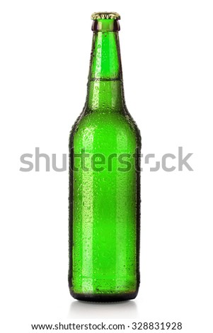 Bottle of beer with drops isolated on white background - stock photo