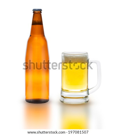 Bottle of beer with glass isolated on white