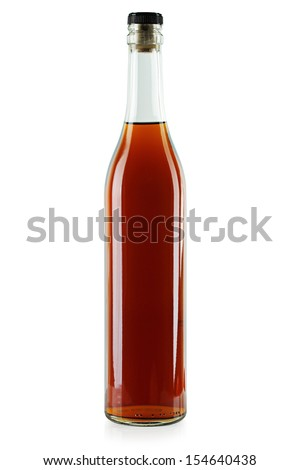Bottle of brandy on a white background